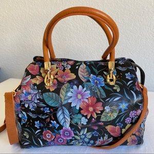 Valentina floral print Italian leather bag